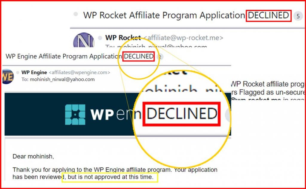 affiliate application declined